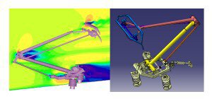 Simulation 3D de l'interaction pantographe-caténaire